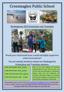 Kindergarten 2016 Orientation & Transition